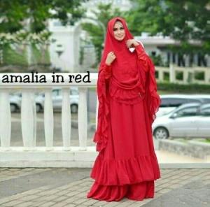 Gamis Pesta CAntik Amalia WArna Red Dengan Bahan Ceruty
