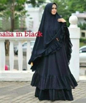 Gamis Pesta Cantik Amalia Warna Black Purple Dengan Bahan Ceruty