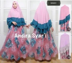 Jual Baju Gamis Andira Syar'i Warna Pink Bahan Katun Termurah