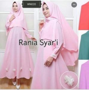 Jual Baju Gamis Cantik Rania Syar'i Warna Pink Bahan Crepe Tisue Termurah