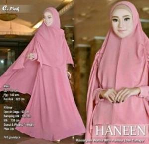 Jual Gamis Model Terbaru Haneen Syari Warna Pink Bahan Wollycrepe murah
