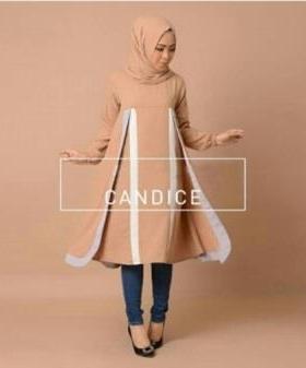Agen Baju Atasan Wanita Muslim Warna Mocca Bahan Crepe - Ada Tunik dan Pashmina