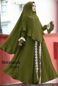 Agen Gamis Terbaru Rekinasya Syar'i Warna Army Bahan Bubblepop Daerah Tangerang Dan Sukabumi