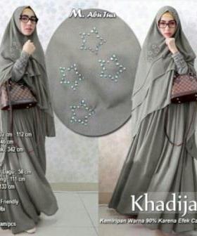 Baju Gamis Pesta Syar'i Khadijah Syar'i WArna Abu Tua Kombinasi Bahan Spandex dan Ceruty