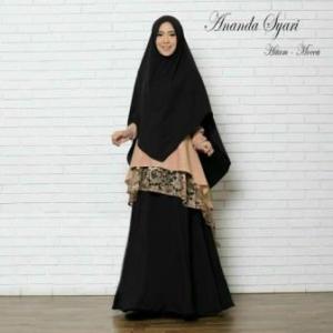 Baju Muslim Pesta Murah Ananda Syar'i Warma Hitam Mocca Bahan Misbie