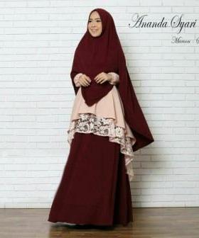 Baju Muslim Pesta Murah Ananda Syar'i Warma Salem Maroon Bahan Misbie