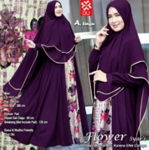 Distribor Baju Muslim Wanita Flower Syar'i Warna Ungu Bahan Woolpeach