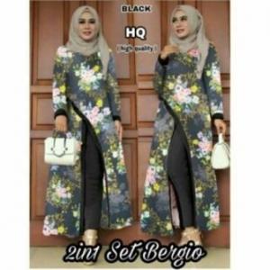 Distributor Baju Muslim Terbaru Trendy Bergio Set Warna Black Tunik Bahan Waffle Import