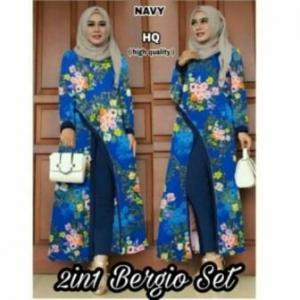 Distributor Baju Muslim Terbaru Trendy Bergio Set Warna Navy Tunik Bahan Waffle Import