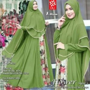 Distributor Baju Muslim Wanita Flower Syar'i Warna Hijau Bahan Woolpeach