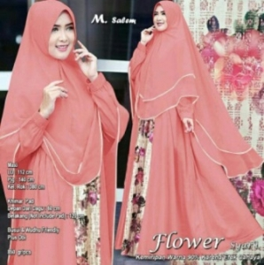 Distributor Baju Muslim Wanita Flower Syar'i Warna Salem Bahan Woolpeach