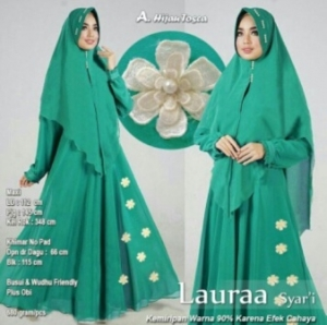 Jual Baju Gamis Cantik Laura Syar'i Warna Hijau Tosca Bahan Wollycrepe
