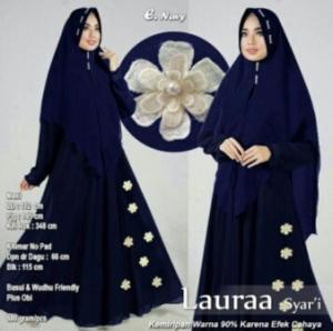 Jual Baju Gamis Cantik Laura Syar'i Warna Navy Bahan Wollycrepe