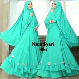 Jual Baju Gamis Cantik Nina Syar'i Murah Warna Mint Bahan Misbie