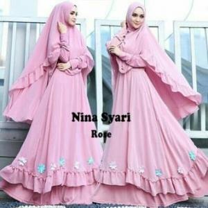 Jual Baju Gamis Cantik Nina Syar'i Murah Warna Rose Bahan Misbie