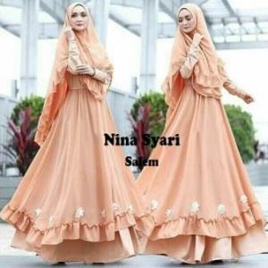 Jual Baju Gamis Cantik Nina Syar'i Murah Warna Salem Bahan Misbie