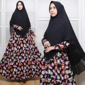 Jual Baju Gamis Cantik Onion Syar'i Warna Black Bahan Monalisa