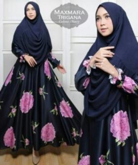 Jual Baju Muslim Wanita Murah Trigana Syar'i Warna Navy Bahan Maxmara
