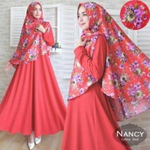 Jual Baju Muslim Wanita Nancy Syar'i Warna Merah Bahan Misbie