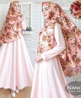 Jual Baju Muslim Wanita Nancy Syar'i Warna Peach Bahan Misbie