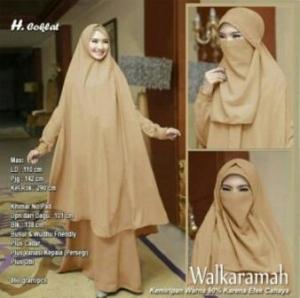 Jual Baju Muslim Wanita Walkaramah Syar'i Warna Coklat Bercadar
