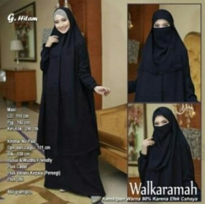 Jual Baju Muslim Wanita Walkaramah Syar'i Warna Hitam Bercadar