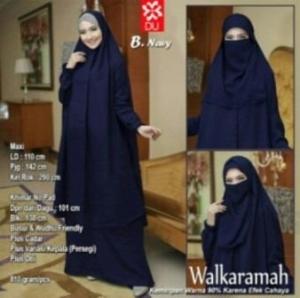 Jual Baju Muslim Wanita Walkaramah Syar'i Warna Navy Bercadar