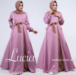 Jual Busana Muslim Modern Lucia Warna Dusty Pink Bahan Baloteli