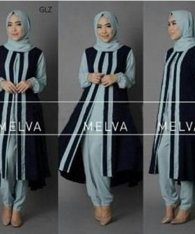 Jual Busana Muslim Modern Melva Set Warna Tosca Bahan Crepe