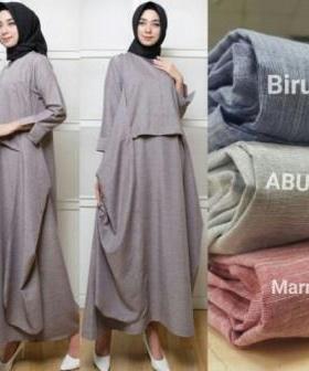 Jual Busana Muslim Modern Naima Maxi Warna Abu Bahan Linen Jepang