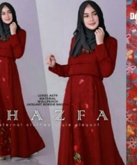 Jual Busana Muslim Pesta Terbaru Shafza Warna Maroon Bahan Jacquard