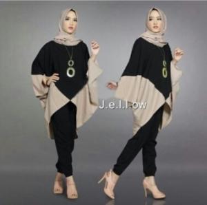 Jual Busana Muslim Trendy Jellow Set Warna Black Bahan Mosscrepe