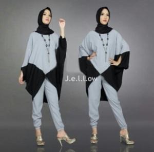 Jual Busana Muslim Trendy Jellow Set Warna Grey Bahan Mosscrepe