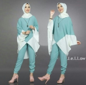 Jual Busana Muslim Trendy Jellow Set Warna Mint Bahan Mosscrepe