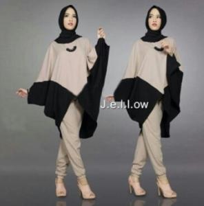 Jual Busana Muslim Trendy Jellow Set Warna Mocca Bahan Mosscrepe