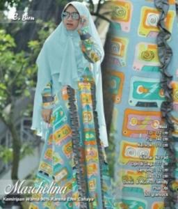 Jual Gamis Modern Marchelina Syar'i Warna Biru Bahan Monalisa