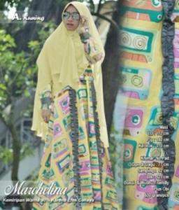 Jual Gamis Modern Marchelina Syar'i Warna Kuning Bahan Monalisa