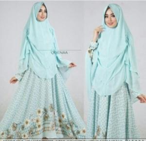 Jual Gamis Muslimah Modern Queena Syar'i Warna Mint Bahan Bubblepop