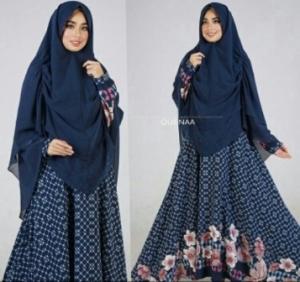 Jual Gamis Muslimah Modern Queena Syar'i Warna Navy Bahan Bubblepop
