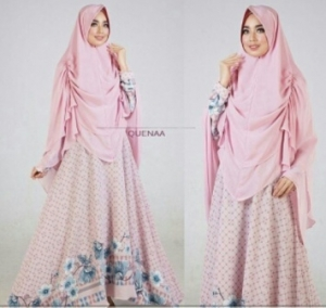 Jual Gamis Muslimah Modern Queena Syar'i Warna Pink Bahan Bubblepop