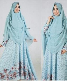 Jual Gamis Muslimah Modern Queena Syar'i Warna Soft Blue Bahan Bubblepop