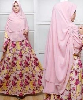 Jual Gamis Muslimah Seruni Syar'i Warna Pink Bahan Maxmara