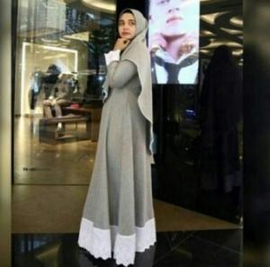 Jual Gamis Salwa Syar'i Warna Soft Grey Bahan Katun Oxford