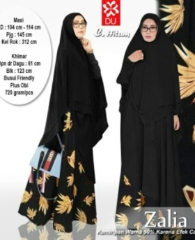 Jual Gamis Zalia Syar'i Warna Hitam Bahan Jersey Kombinasai Monalisa