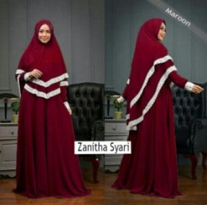 Jual Grosir Gamis Zanitha Syar'i Terbaru Warna Maroon Bahan Bubblepop