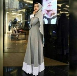 Jual Online Baju Gamis Salwa Syar'i Warna Soft grey Bahan Katun Oxford