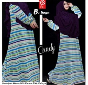 Jual Online Baju Muslim Wanita Candy Warna Ungu Bahan Spandex Rayon