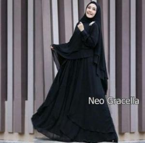 Jual Online Busana Muslim Pesta Gracella Warna Black Bahan Ceruty
