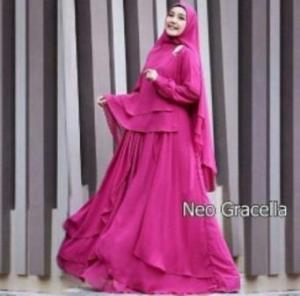 Jual Online Busana Muslim Pesta Gracella Warna Fushia Bahan Ceruty