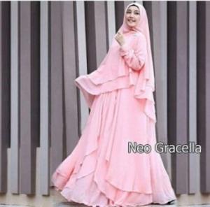 Jual Online Busana Muslim Pesta Gracella Warna Peach Bahan Ceruty